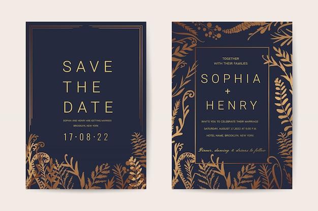 Luxe bruiloft uitnodiging kaarten sjabloon met bloemen vintage stijl.