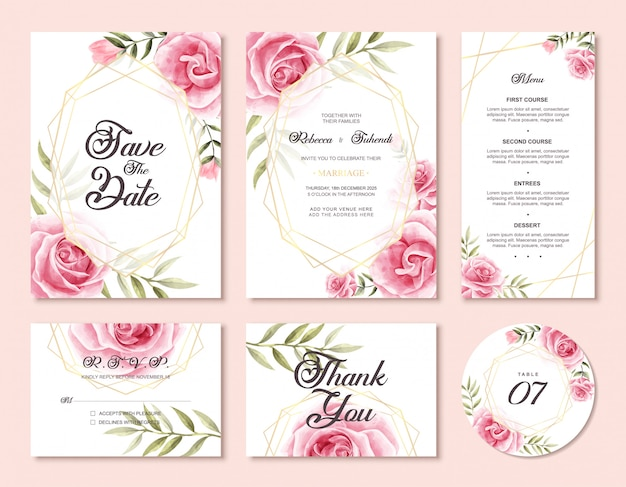 Luxe bruiloft uitnodiging kaartsjabloon set met aquarel floral frame