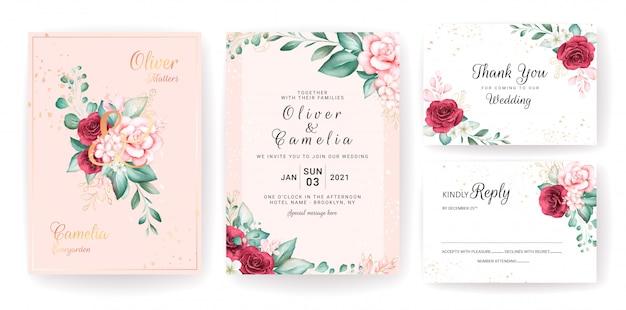 Luxe bruiloft uitnodiging kaartsjabloon set met gouden aquarel bloemendecoraties en glitter.