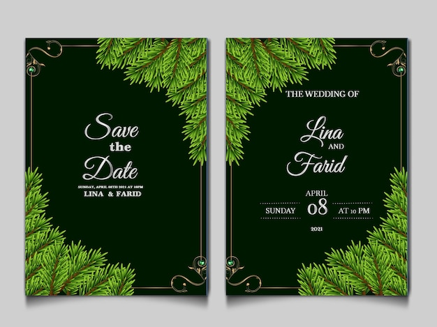 Luxe bruiloft uitnodiging kaartsjabloon set
