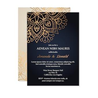 Luxe bruiloft uitnodiging kaartsjabloon