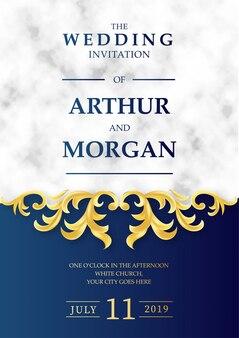 Luxe bruiloft uitnodiging met marmeren achtergrond