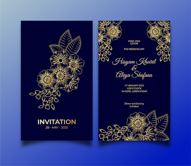 Luxe bruiloft uitnodiging sjabloon concept