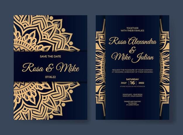 Luxe bruiloft uitnodiging sjabloon met mandala decoratie ornament