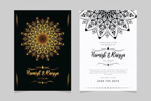 Luxe bruiloft uitnodiging sjabloon met mandala ornament