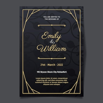 Luxe bruiloft uitnodiging sjabloon