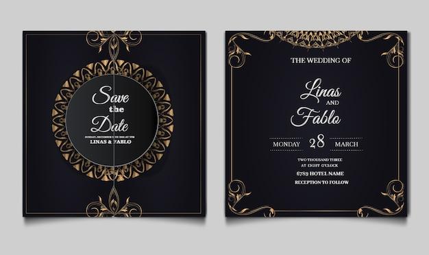 Luxe bruiloft uitnodiging sjabloonontwerp