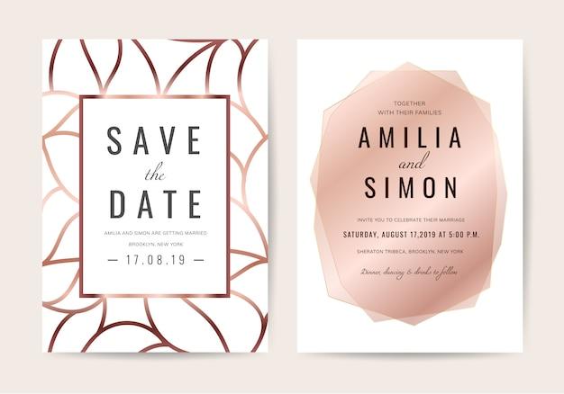 Luxe bruiloft uitnodigingskaart Premium Vector