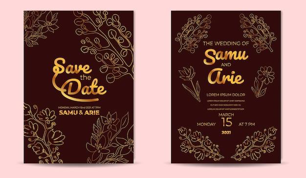 Luxe bruiloft uitnodigingskaarten sjabloon met gouden bloemen lijn