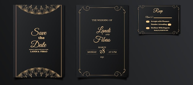Luxe bruiloft uitnodigingskaartenset
