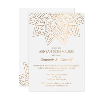 Luxe bruiloft uitnodigingskaartsjabloon