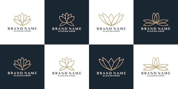 Luxe bundel bloem lotus logo ontwerp