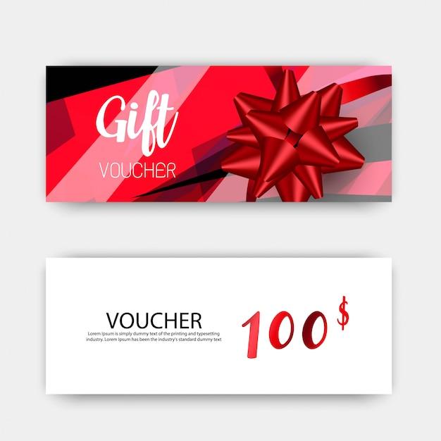 Luxe cadeau vouchers sjabloon set. ontwerp met rode en witte kleuren