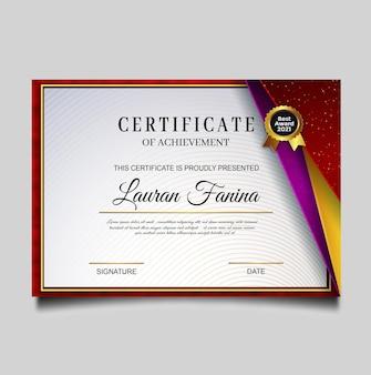 Luxe certificaat prestatie sjabloonontwerp