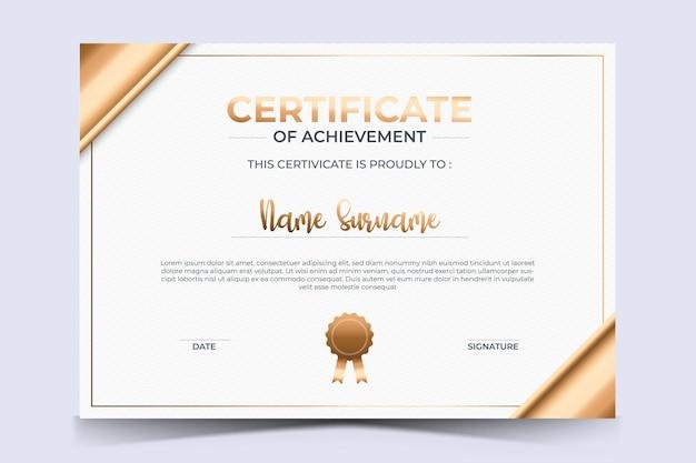 Luxe certificaat van waardering award sjabloon met gouden stijl