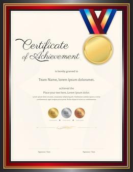 Luxe certificaatsjabloon met elegant grenskader, diploma-ontwerp voor afstuderen of voltooiing