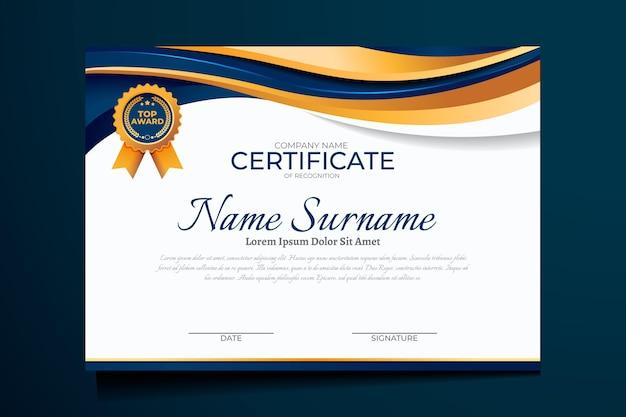 Luxe certificaatsjabloon met kleurovergang Gratis Vector