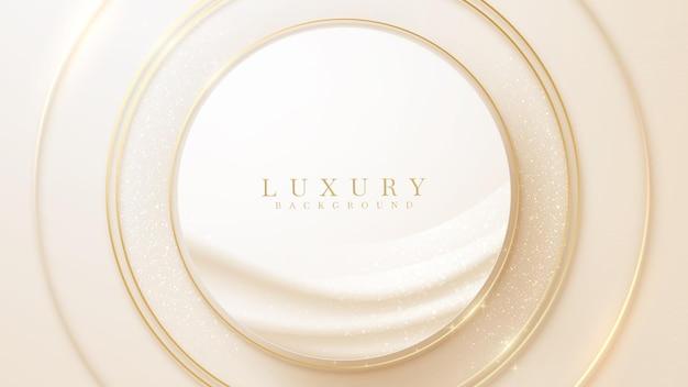 Luxe cirkel achtergrond met glitter gouden lijnen, vector illustratie scène.