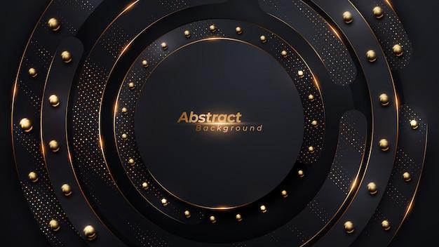 Luxe cirkel achtergrond met gouden halftone en gouden bal kralen.