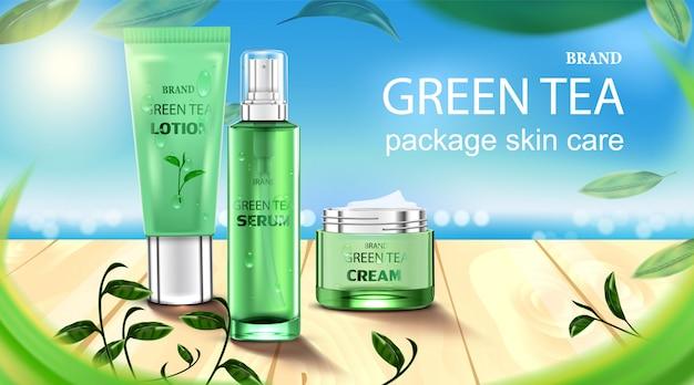 Luxe cosmetische fles pakket huidverzorging crème, schoonheid cosmetische product poster, met groene thee en houten vloer op het strand