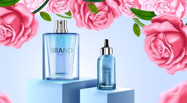 Luxe cosmetische fles pakket huidverzorgingscrème, schoonheid cosmetische productposter, met roze roos en blauwe kleur achtergrond