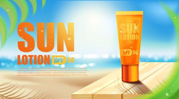 Luxe cosmetische fles pakket huidverzorgingscrème, uv-filter fles met zonnebrandcrème, cosmetisch schoonheidsproduct