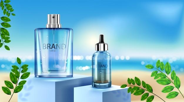 Luxe cosmetische flespakket huidverzorgingscrème, schoonheid cosmetische productposter, roos en strandachtergrond