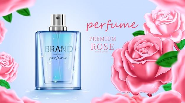 Luxe cosmetische flespakket huidverzorgingscrème, schoonheidsschoonheidsproductposter, met bladeren en witte kleurenachtergrond