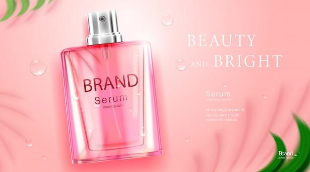 Luxe cosmetische flespakket huidverzorgingscrème, schoonheidsschoonheidsproductposter, met bladerenschaduw op muur en roze kleurenachtergrond