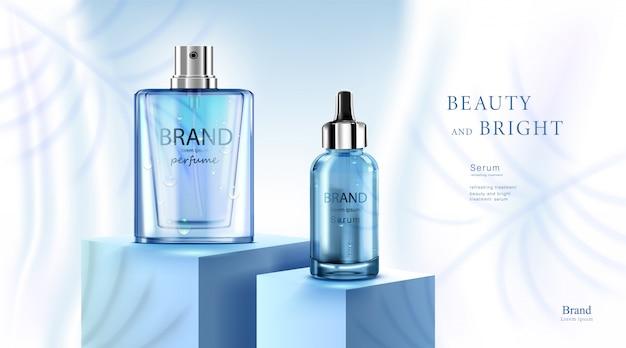 Luxe cosmetische flespakket huidverzorgingscrème, schoonheidsschoonheidsproductposter, met waterdruppel en blauwe kleurenachtergrond