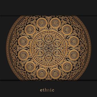 Luxe decoratieve gouden mandala ontwerp achtergrond, henna op zwart