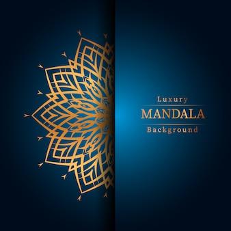 Luxe decoratieve mandala ontwerp achtergrond in gouden kleur, luxe mandala achtergrond voor bruiloft uitnodiging, boekomslag