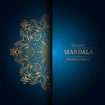 Luxe decoratieve mandala ontwerp achtergrond in gouden kleur,