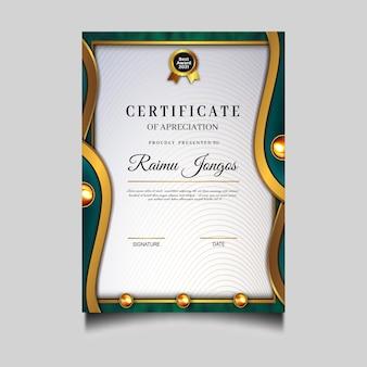 Luxe diploma certificaat archievement sjabloonontwerp
