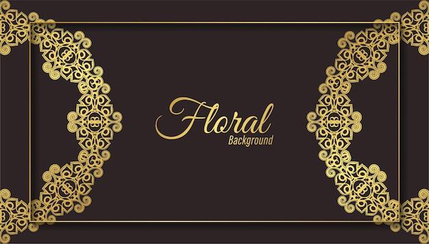Luxe donker bloemen ornament achtergrond concept