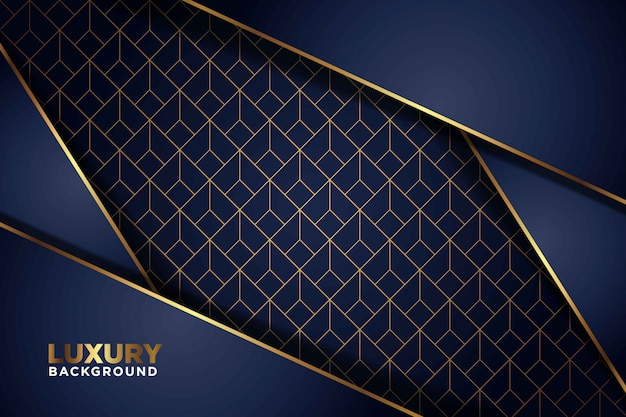 Luxe donker marineblauwe overlappende achtergrond met gouden lijnen. elegante moderne futuristische achtergrond.