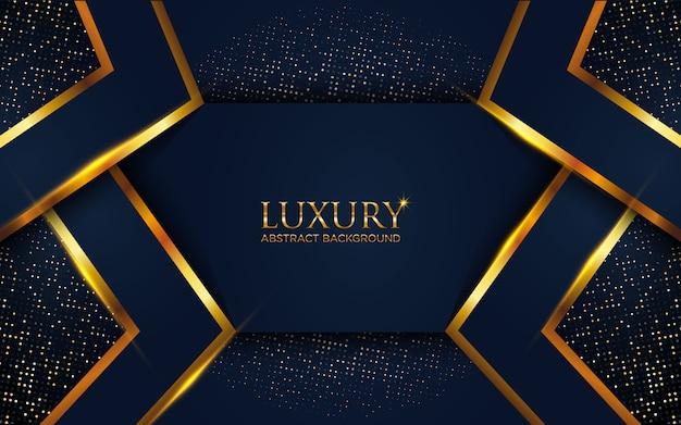 Luxe donkerblauwe abstracte achtergrond met geometrische gouden lijn