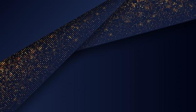 Luxe donkerblauwe achtergrond met gloeiende gouden stippen