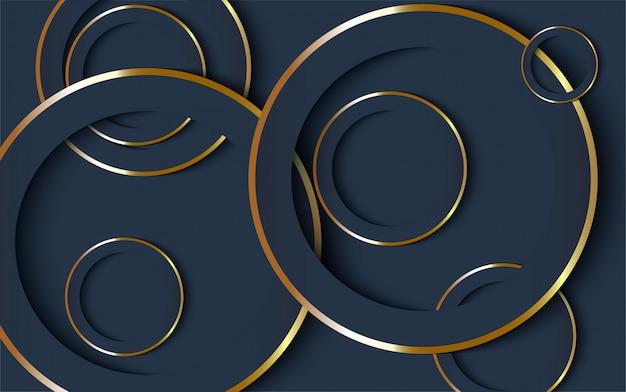Luxe donkerblauwe achtergrond met gouden lijn.