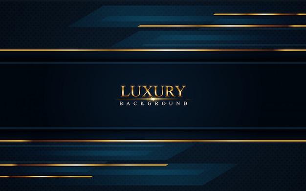 Luxe donkerblauwe achtergrond met gouden lijnen