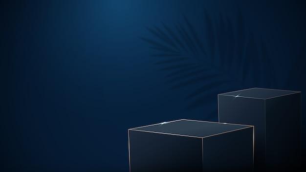 Luxe donkerblauwe en gouden dozen podiumdisplay