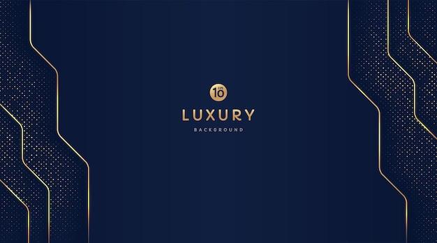 Luxe donkerblauwe en gouden geometrische vormen op achtergrond met gouden gestreepte lijnen en glitter