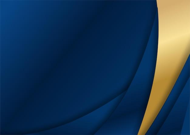 Luxe donkerblauwe overlap dimensie achtergrond op metalen patroon. kleurrijke gouden glitters halftone textuur met glanzende realistische gouden elementen. moderne vector ontwerpsjabloon. eenvoudige golfachtergrond