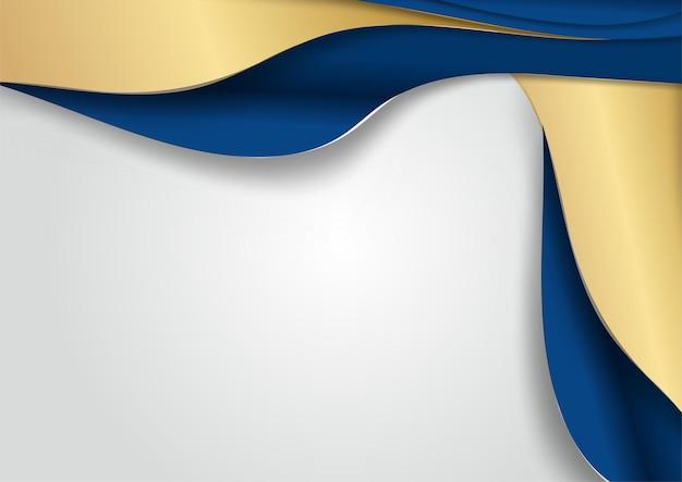 Luxe donkerblauwe overlap dimensie achtergrond op metalen patroon. kleurrijke gouden glitters halftone textuur met glanzende realistische gouden elementen. moderne vector ontwerpsjabloon