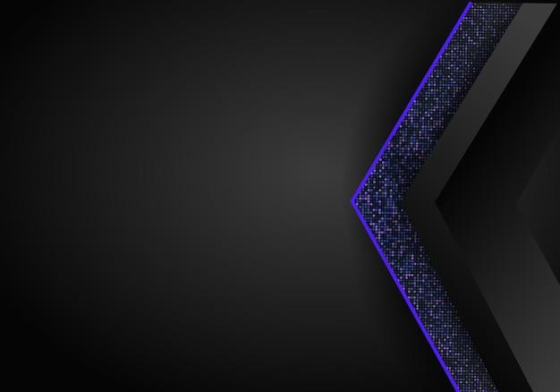 Luxe donkerblauwe overlap dimensie achtergrond op metalen patroon. kleurrijke halftone textuur met glanzende realistische gouden elementen. glitters halftoon. moderne vector ontwerpsjabloon.
