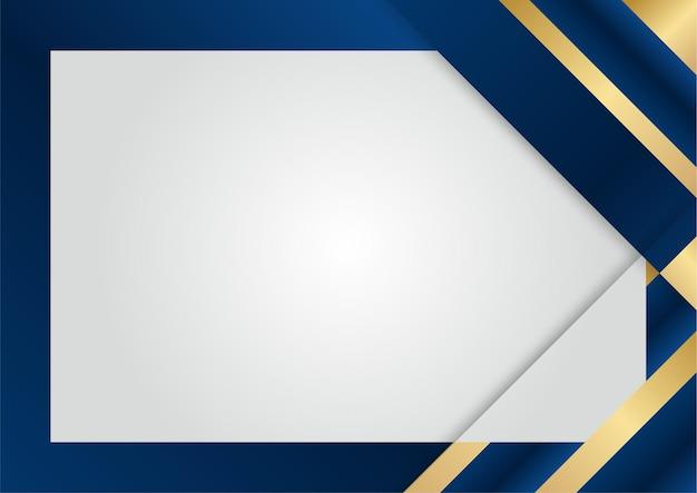Luxe donkerblauwe overlappende dimensie-elementen op zilveren achtergrond. abstracte geometrische vormen halftone textuur met glanzende realistische gouden elementen. moderne vector ontwerpsjabloon