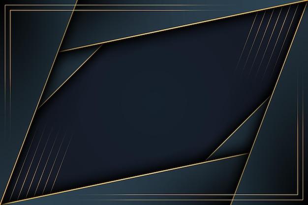 Luxe donkerblauwe strepen overlappende laag met gouden lijnen achtergrond. vector illustratie.