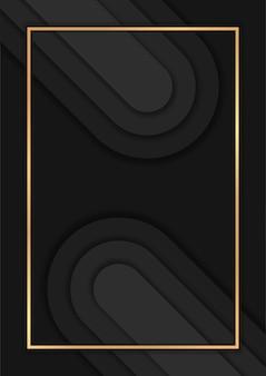 Luxe donkere abstracte achtergrond met overlappende lagen, luxe achtergrond met gouden lijnen