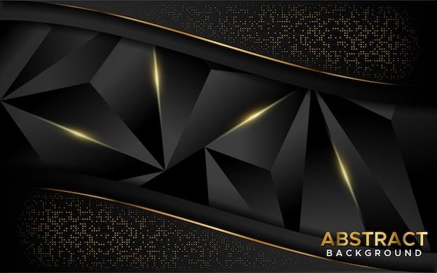 Luxe donkere abstracte mozaïekachtergrond met gouden lijnen