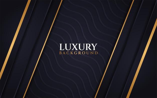 Luxe donkere achtergrond golftextuur met lijn goud